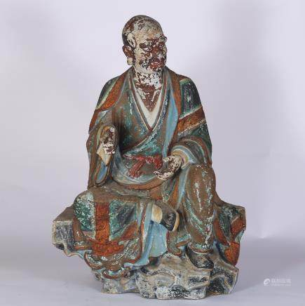 CHINESE POLYCHROME WOODEN FIGURE OF LOHAN