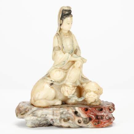CHINESE SOAPSTONE FIGURE OF GUANYIN