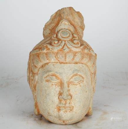 CHINESE STONE CARVED HEAD OF GUANYIN