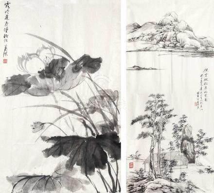 蕭滋 - 山水、荷花(套三)(圖選二)