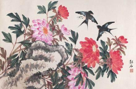 張韶石 - 花鳥(原裝舊裱)