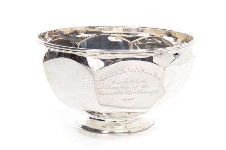 GEORGE VI SILVER PEDESTAL BOWL maker James Carr, Sheffield 1948, of faceted circular form, 12cm