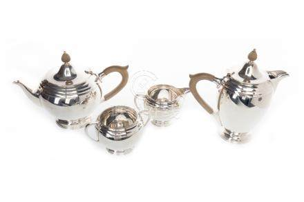 EDWARD VII SILVER FOUR PIECE TEA AND COFFEE SERVICE OF ART DECO DESIGN maker James Carr, Sheffield