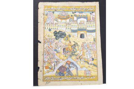 PERSIAN WATERCOLOUR possibly 18th century, depicting a man on horseback in procession through crowds