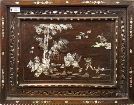EARLY 20TH CENTURY CHINESE MOTHER OF PEARL INLAID WOODEN PANEL depicting a figure on horseback and