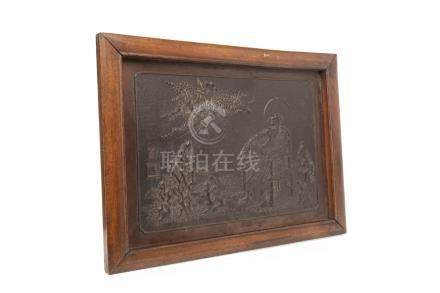 20TH CENTURY CHINESE BRONZE PLAQUE depicting a figure seated on a throne and an eruption in the sky,