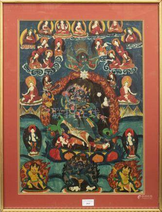 20TH CENTURY TIBETAN THANGKA painted with deities on clouds surrounding a central mythical creature,