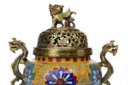 20TH CENTURY CHINESE GILT BRONZE AND CLOISONNE CENSER the detachable domed circular lid with