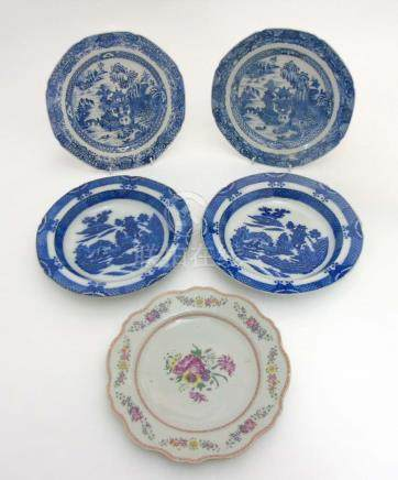 A collection of 5 Chinese plates to include; A pair of blue and white Chinese bowls ,