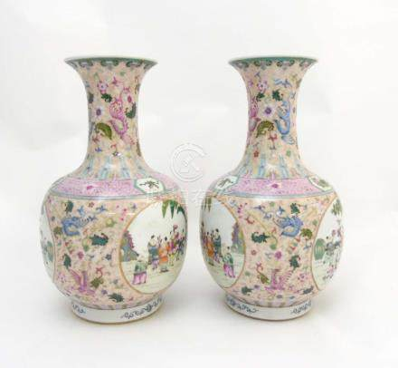 A pair of Chinese Famille Rose baluster vases,