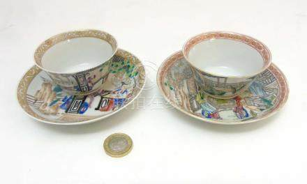 Two Chinese Famille Rose tea bowl and saucers,