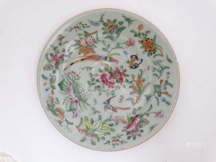 A Chinese Celadon famille rose dish , decorated with exotic birds,