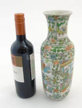 A Chinese Famille Verte baluster vase,