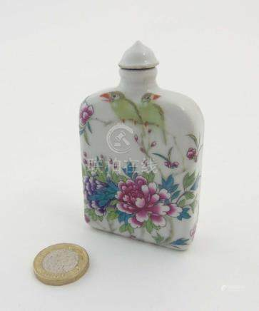 An Oriental porcelain Famille Rose rectangular snuff bottle,