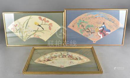 Three 20th Century framed fan leafs, two Chinese examples hand painted on fabric, one depicting a