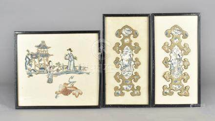 Three 19th Century Chinese embroidered panels, comprising a pair of Peking knott gold thread