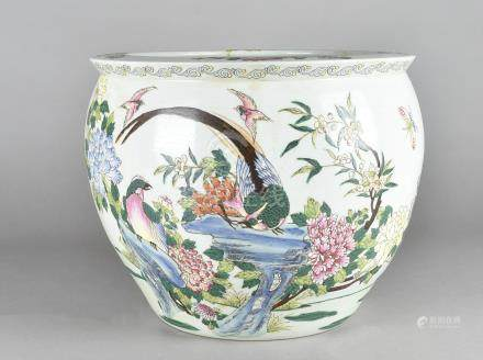 A 19th Century Chinese celadon fish bowl, decorated with asiatic pheasants to exterior, interior