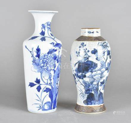 An 19th Century six character mark blue and white Chinese porcelain vase, with hairline crack, 25.