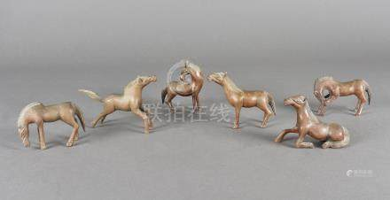 Six Chinese boxwood carved horses, from the story of the horse and the flea (there should be seven)