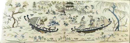 A Chinese Peking knot embroidered panel, depicting boats and river scenes, 22 cm x 65 cm