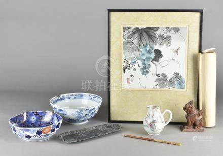A collection of Asian works of art, including a Japanese watercolour with dragonfly decoration, pair