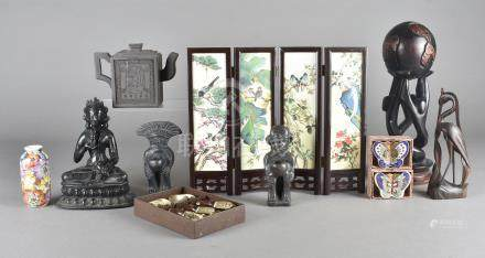 A modern Chinese four fold table screen, a collection of novelty teapots and various cloisonné boxes