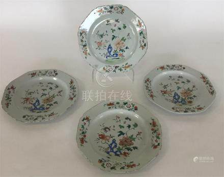 Four 18th Century Chinese porcelain octagonal plat