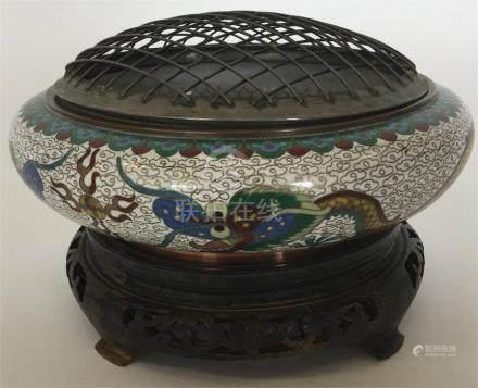 A Chinese cloisonné squat oviform vase, the sides