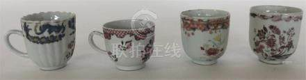 Four 18th Century Chinese porcelain teacups. (4).