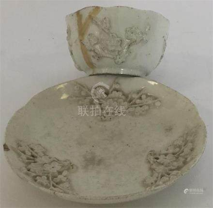 An 18th Century Bow tea bowl and saucer moulded wi