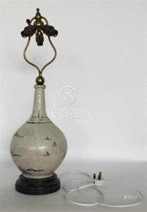 A Chinese porcelain blue and white oviform vase pa