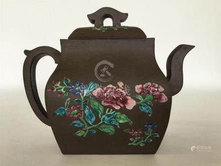 A Chinese brown-glazed rectangular oviform teapot