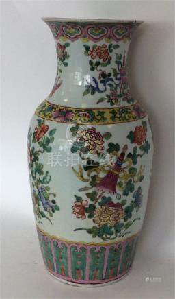 A tall 19th Century Famille Rose vase attractively