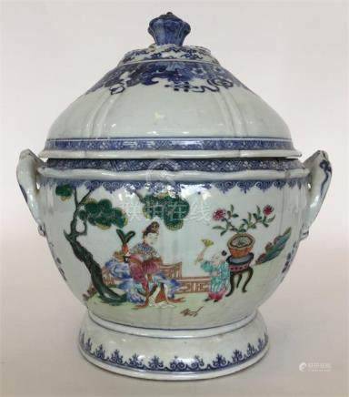 A large Chinese porcelain Famille Rose two-handled
