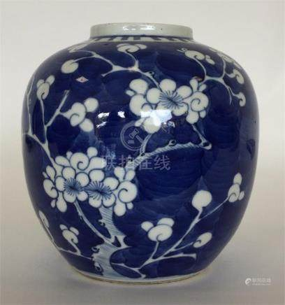 A Chinese blue and white ginger jar painted with p