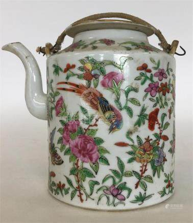 A Canton teapot and cover attractively decorated w