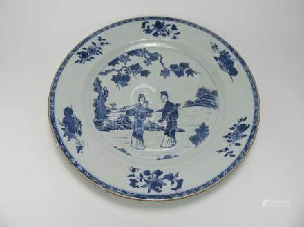"Yongzheng: Blue and White ""Servant Girls"" Dish"