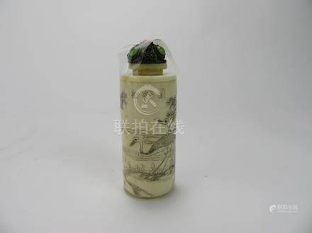 "Qing Dynasty: Black and White ""Crane"" Snuff Bottle"