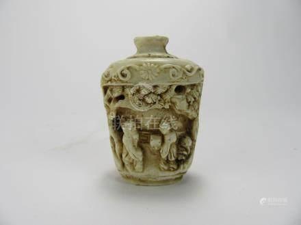 Qing Dynasty: Cow Bone Snuff Bottle