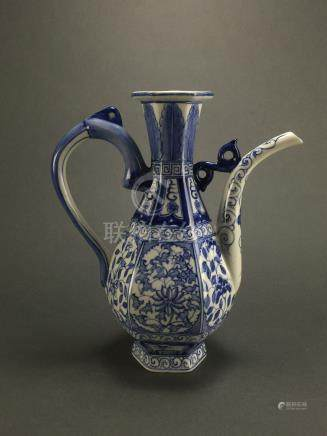 Late Qing Dynasty: Blue and White Hectagonal Ewer