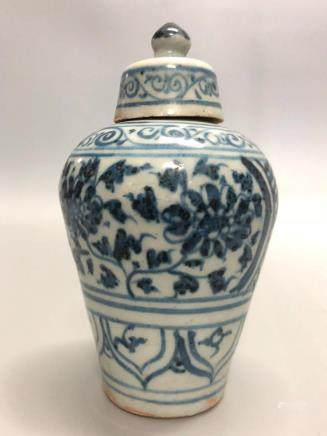 14-16TH CENTURY, A PAIR OF BLUE&WHITE PLUM VASE, MING DYNASTY