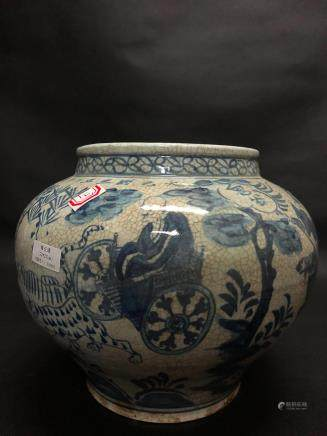 13-14TH CENTURY, A BLUE&WHITE JAR, YUAN DYNASTY