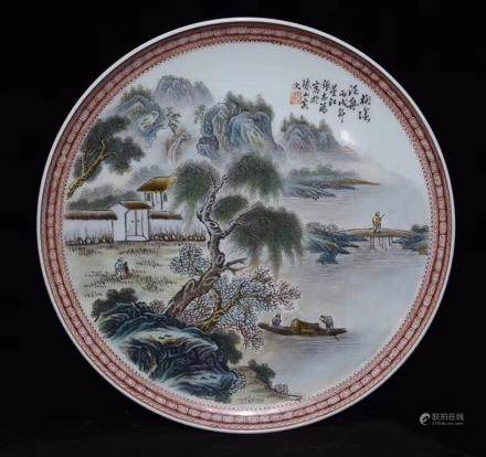 A FAMILLE-ROSE LANDSCAPE FIGURE PATTERN PLATE, THE REPUBLIC OF CHINA