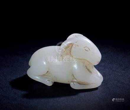 清 和田玉臥羊