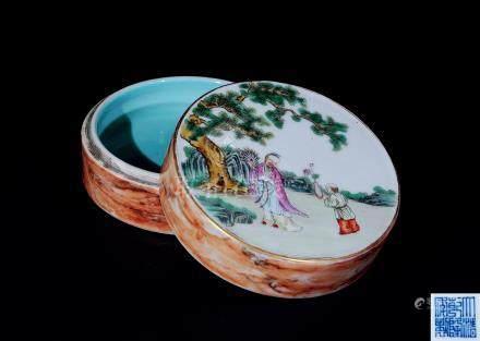 粉彩仿木紋松下高士蓋盒
