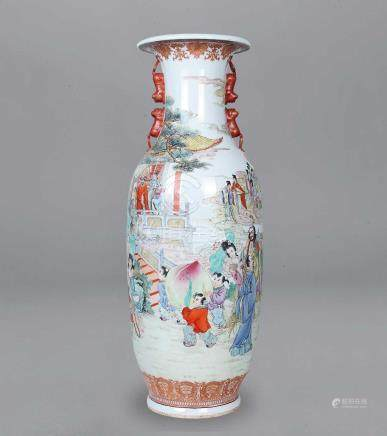 70年代 粉彩群仙賀壽大瓶
