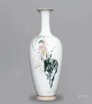 70年代 釉中彩文革人物瓶