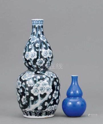 清 青花冰梅紋葫蘆尊 連藍釉葫蘆尊