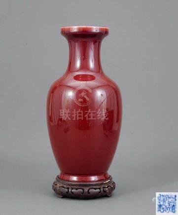 """60年代 紅釉瓶 """"景德鎮製""""款"""