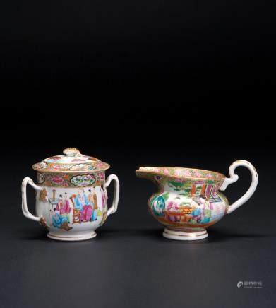 粉彩描金茶具一组